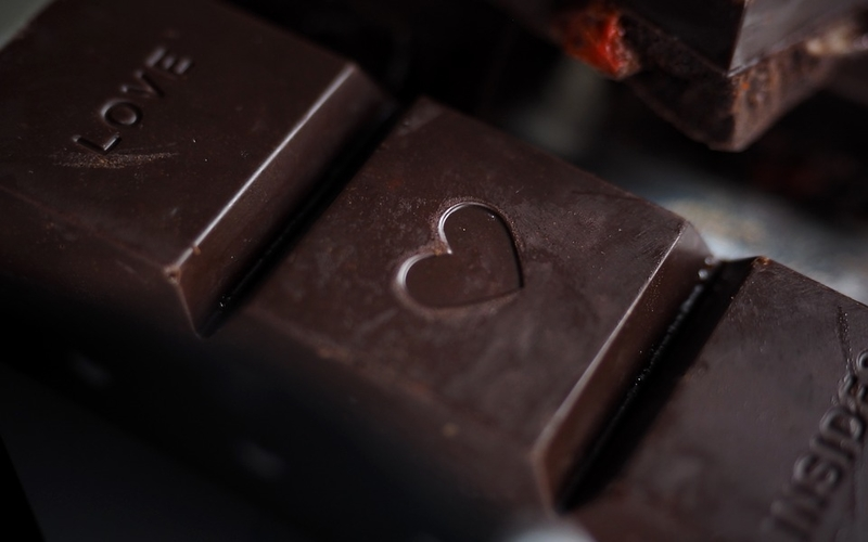 dark chocolate with heart in it